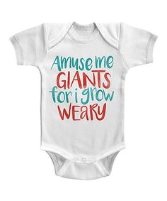 Look at this White 'Amuse Me Giants' Bodysuit - Infant on #zulily today!