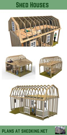 Plans for Building Shed Homes These plans are great for building shed houses that come complete with detailed building guide, materials list, email support, and a virtual reality model you can use to build your shed house with using your smartphone.