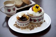 From our breakfast menu. Baked prunes and apricots with natural yoghurt served in Nicolas Mosse Irish Pottery, Breakfast Menu, Pottery Making, Tea Time, Baking, Dublin, Cake, Sweet, Ireland