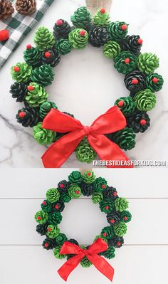 PINE CONE WREATH - such a beautiful and easy Christmas wreath! This easy DIY christmas pine cone wreath makes a great gift too! PINE CONE WREATH - such a beautiful and easy Christmas wreath! This easy DIY christmas pine cone wreath makes a great gift too! Christmas Pine Cones, Easy Christmas Crafts, Noel Christmas, Diy Christmas Ornaments, Simple Christmas, Christmas Ideas, Beautiful Christmas, Pine Cone Crafts For Kids, Outdoor Christmas