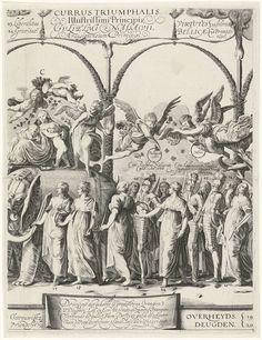 Cornelis van Kittensteyn   Triomftocht van Willem van Oranje, plaat c, Cornelis van Kittensteyn, Claes Jansz. Visscher (II), 1623   Zinnebeeldige voorstelling van de deugden van Prins Willem van Oranje. Zegewagen waarin de prins zit, rijdt onder een erepoort van loofwerk door, getrokken door 3 olifanten. Op de olifant de personificatie Liefde; naast hen andere personificaties van deugden. Met uitleg in het Latijn boven de figuren, Hollandse vertaling onderaan.