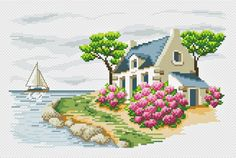 Needlework,DIY Cross Stitch,Sets For Embroidery Claus presents gifts Cross Stitch House, Cross Stitch Bird, Cross Stitch Flowers, Cross Stitch Charts, Cross Stitching, Cross Stitch Patterns, Embroidery Kits, Cross Stitch Embroidery, Beaded Flowers Patterns