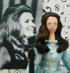 June Carter Cash Doll Miniature in Blue Dress With Guitar Country Music