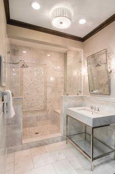 Elegant themed bathroom tile design - Hampton Carrara Polished Marble Floor Tile https://www.tileshop.com/product/657394-P.do