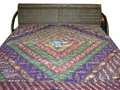 Vintage Sari Embroidered Purple Green Bedspread Indian Inspired Bedding Throw by Mogulinterior,