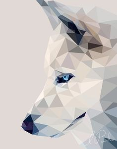 Winter, the wolf art print by liviathaine. Geometric Drawing, Geometric Art, Geometric Wolf Wallpaper, Polygon Art, Pop Art Posters, Arte Pop, Illustrations, Dog Art, Art Inspo