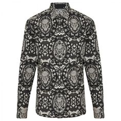 Alexander McQueen Lace and skull print cotton shirt.