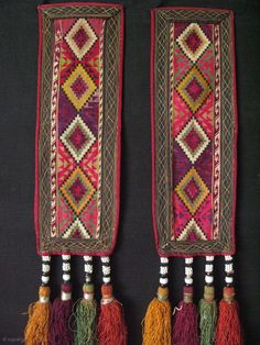 """Lakai pair wall hangings. Cross stitch silk embroidery. Long silk tassels with glass beads. Size: 5"""" x 14"""" x 27"""" (12cm x 35cm with tassels 68cm long)"""
