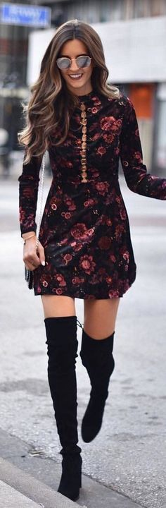 #winter #outfits black and red floral printed long-sleeved mini dress #partydress