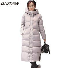 bf24eef409ebb QAZXSW Woman Basic Coat Women's Winter Cotton Jackets Hooded Long Parkas  For Woman Warm Thicker Outwear Jaqueta Feminina HB023-in Parkas from Women's  ...