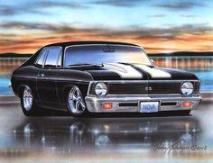 1968 69 70 71 72 Chevy Nova SS Muscle Car Art Print 11x14