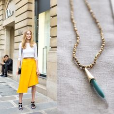 Friday & weekend Style! Delicate Hand Knotted Gold Beads Necklace with Turquoise Spike Pendant. Say hello on Instagram @Bungalow9jewelry Free domestic shipping with order of $100 or more, use code Freeship100 at checkout