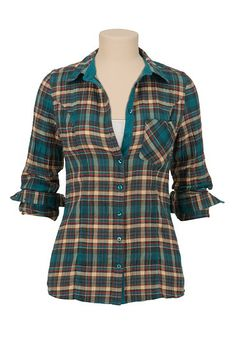 Long sleeve textured button down plaid shirt (original price, $29) available at #Maurices