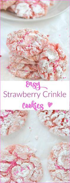 easy strawberry crinkle cookies