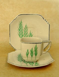 Rare Art Deco Demitasse Cup & Saucer Set, Leigh Ware Green Wheat, Square Ultra Shape, 6 Available, Free US Shipping Vintage Dishes, Vintage China, Vintage Tea, Cup And Saucer Set, Tea Cup Saucer, Tea Cups, Art Nouveau, Art Journal Pages, Teapots And Cups