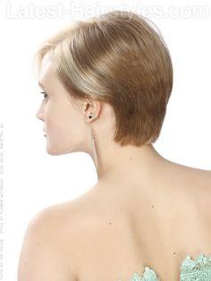 Short Blonde Asymetric Cut Back View