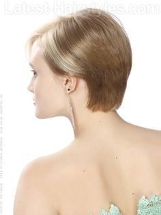 Short Blonde Asymetric Cut Back View