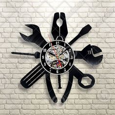 Instruments Cars Gift For Men Vinyl Record Wall Clock Art Home Decor Gift Idea