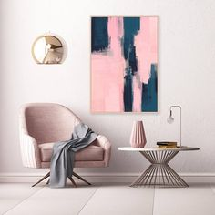 Pink and Navy Abstract Art Modern Downloadable Print Pink
