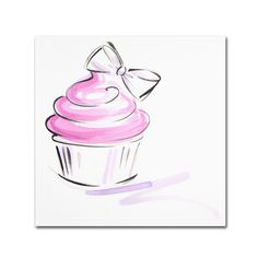 This ready to hang, gallery-wrapped art piece features a pink cupcake with a bow. Jennifer Lilya has been illustrating fashion since the early 90's after graduating from FIT. Her love of runway sketch