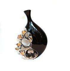 Vase Keramik Schwarz Silber