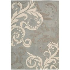 Our new Office Area Rug!! What color should we paint the walls??!! Give me your ideas!    Nourison Modern Paisley Polyester Rug, Silver