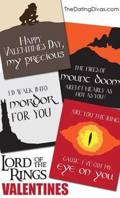 LORD OF THE RINGS Valentines- free download!