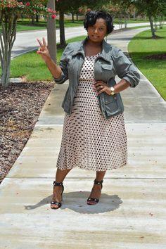 Plus size outfit: polka dot dress