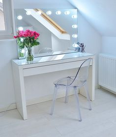 Absolutely love my new Ikea makeup vanity - no idea how I managed to live without it! It's an - Ikea Malm dressing table, with an acrylic ghost chair and makeup vanity with lights! Ikea Makeup Storage, Ikea Makeup Vanity, Makeup Organization, Makeup Vanities, White Makeup Vanity, Ikea Bedroom Storage, White Bedroom Vanity, White Bedroom Furniture Ikea, White Vanity Table