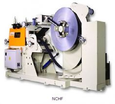 NCHF 3 in 1 Precision Uncoiler, Straightener & Feeder is 3 roll centenary support section with full  sideplates and it has Heavy duty feeder-straightener head for piloting operations that has 7 straightener rolls for optimum straightening capability.