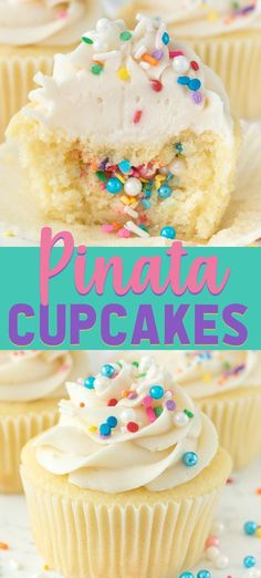 Looking for an amazing cupcake recipe? This easy Piñata Cupcake is my yellow cupcake recipe filled with sprinkles for a fun surprise inside! desserts cupcakes Easy Piñata Cupcakes - Crazy for Crust Pinata Cupcakes, Kid Cupcakes, Cupcake Cakes, Yellow Cupcakes, Filled Cupcakes, Rainbow Cupcakes, Gourmet Cupcakes, Sprinkle Cupcakes, Cupcake Recipes For Kids