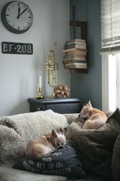 ✿   etsy bluefolkhome says ✿:I'm liking these industrial decor accent pieces - industrial clock, European license plate, books in a vise....looks like the dogs are cool with it!