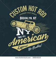Illustration of Vintage American hot rod old grunge effect tee print vector design illustration. NY shabby t-shirt emblem. vector art, clipart and stock vectors. Car Vector, Retro Vector, Garage Logo, Grunge, Drinks Logo, Letter Vector, Old Logo, Logo Sign, Silhouette Vector