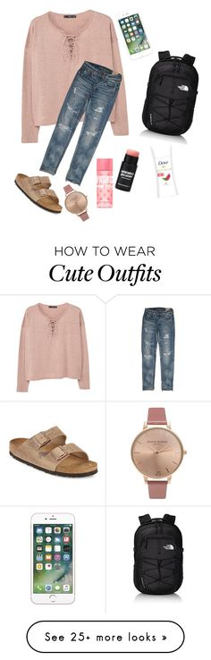 """""""cute"""" by lexiwilson7133 on Polyvore featuring MANGO, American Eagle Outfitters, Birkenstock, The North Face and Olivia Burton"""