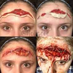 Want creepy ideas with SFX Makeup for Halloween? Sport a scary look this Halloween season with special effects gel, prosthesis, fake blood etc. Horror Makeup, Zombie Makeup, Scary Makeup, Sfx Makeup, Costume Makeup, Makeup Art, Makeup Ideas, Makeup Stuff, Soirée Halloween