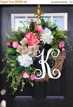 ON SALE Spring Wreath for Front Door, Monogram Wreaths, Summer Door Wreath, Burlap Wreaths, House Warming Gift, Door Decor, Burlap Wreath