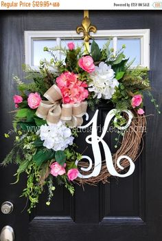 ON SALE Spring Wreath for Front Door, Monogram Wreaths, Summer Door Wreath, Burlap Wreaths, House Warming Gift, Door Decor, Burlap Wreath