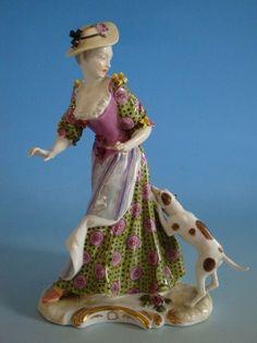 2012-046: Porzellan Figur Rokoko Dame m. Hund  Nymphenburg vor 1900