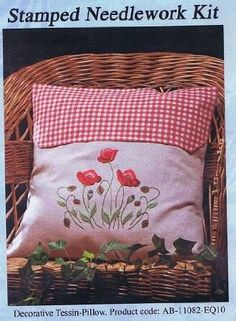 """STAMPED embroidery kit, Poppies Cushion Tessin-Pillow (Red Check) Embroidery Kit - 16"""" x 16"""": Amazon.co.uk: Toys & Games"""