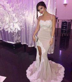 Sexy Slit Lace Mermaid Evening Prom Dresses 49275b4db65d
