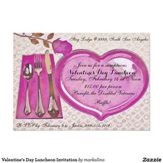 Shop Valentine's Day Luncheon Invitation created by markalino. Spa Weekend, Retirement Parties, Create Your Own Invitations, Veterans Day, Zazzle Invitations, Decoration, White Envelopes, Rsvp, Valentines Day