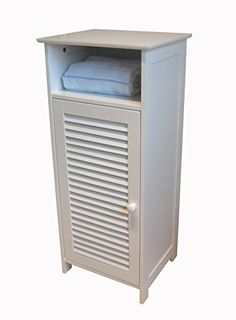 & with louvered door Space saving storage by 3 shelves Overall assembled size is x x Bathroom Standing Cabinet, Free Standing Cabinets, Space Saving Bathroom, Space Saving Storage, Cabinet Door Styles, Cabinet Doors, Clever Bathroom Storage, Shaker Style Cabinets, Raised Panel Doors