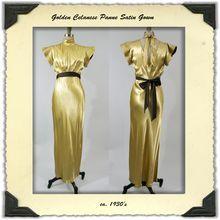 1930s Gold Panne Satin Bias Cut Dress