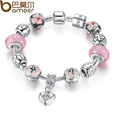 BAMOER 925 Silver Charm Bracelet with Heart Pendant & Cherry Blossom Charm Pink Murano Glass Beads Friendship Bracelet PA1459 $7.74 => Save up to 60% and Free Shipping => Order Now! #fashion #woman #shop #diy www.rodjewelry.co...