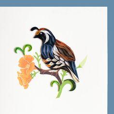 Caille des blés et fleurs de pavot BL1028 6 x 6 par QuillingCard