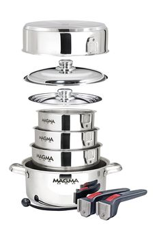 Magma A10-360L 10 Piece Gourmet Nesting Stainless Steel Cookware, Gas, Electric or Ceramic Cooktops >>> To view further for this item, visit the image link.
