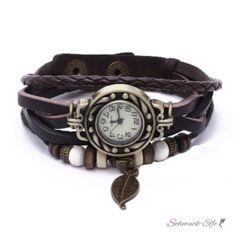 PU Leder Armbanduhr  Vintage Blatt  braun  im Organza Beutel