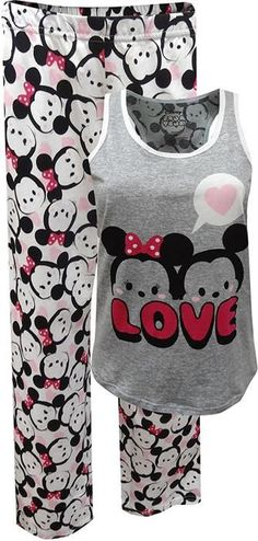 A must have for Tsum Tsum fans! These cotton knit pajamas for plus size ladies feature Disney& Tsum Tsum favorite characters Mickey and Minnie. The rear of the tank has the same all over print fabric as the capri length pants. Best Pajamas, Pajamas Women, Disney Pjs, Disney Clothes, Cute Pjs For Women, Mickey And Minnie Love, Mickey Mouse, Plus Size Pajamas, Disney Bound Outfits