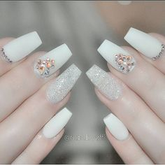 White matte + Diamond Glitter + Swarovski Rhinestone Coffin Nails #nail #nailart