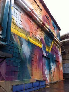 Geometric and abstract graffiti. Urban art festival, winterthur.